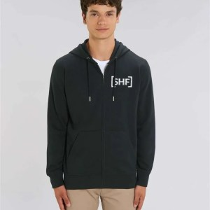[SHF] Motif Embroidered Zip Hoodie, Black