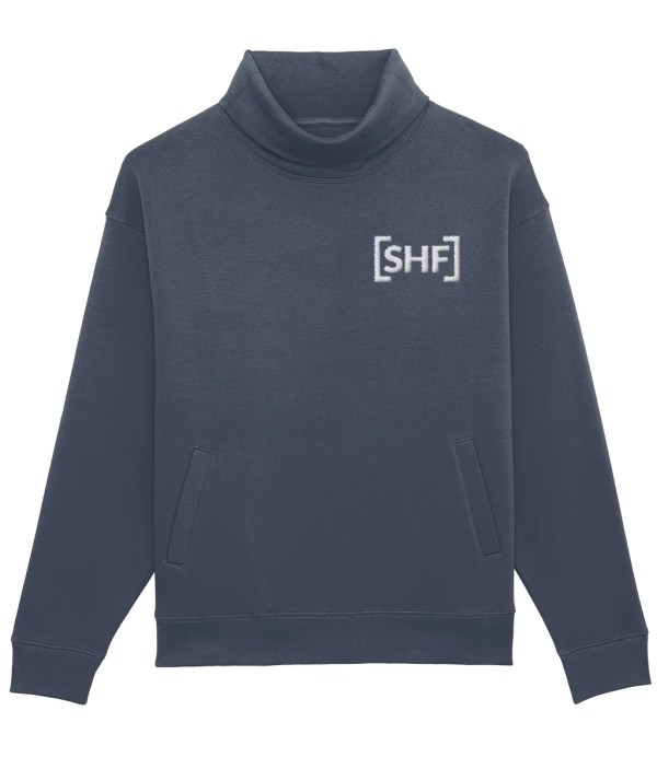 [SHF] Motif Embroidered High Neck Pocketed Sweatshirt, India Ink Grey