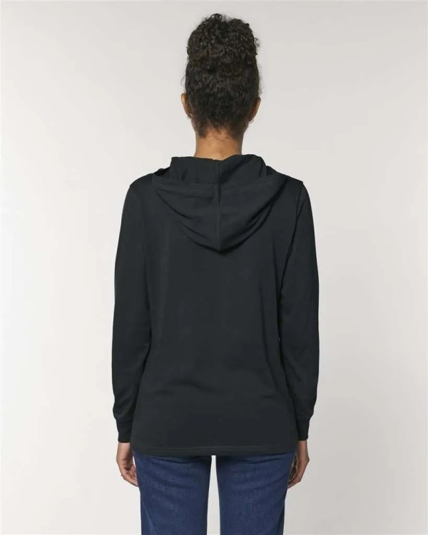 [SHF] Motif Embroidered Long Sleeve Hooded T-Shirt, Black