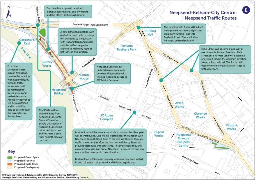 Proposals to re-route B6074 in Sheffield Neepsend
