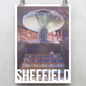 Peace Gardens Sheffield Art Destination Poster Print