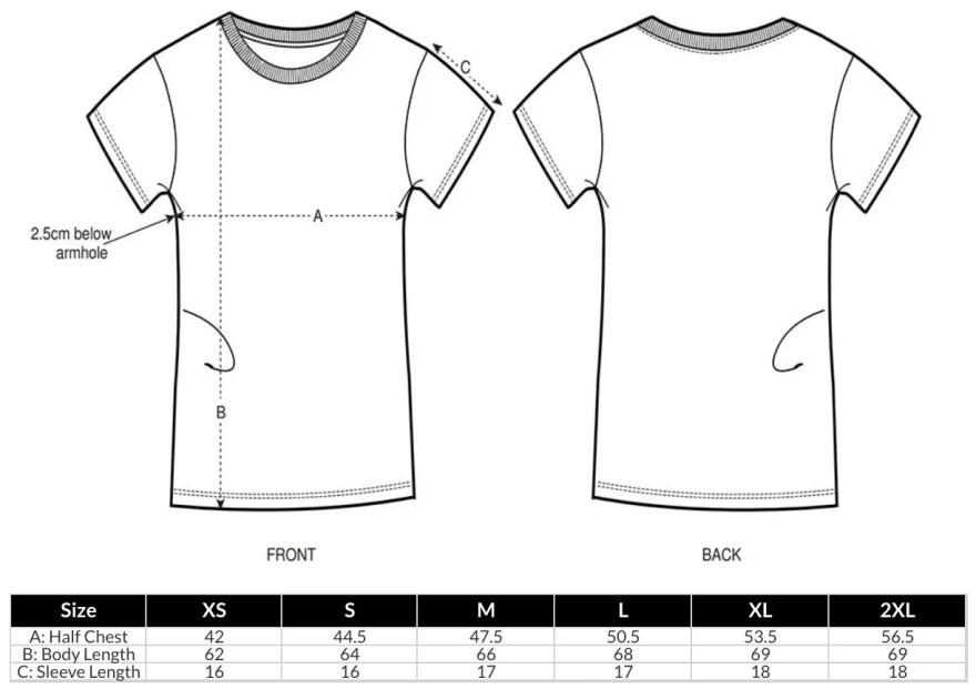 Women's T-Shirt Size Guide