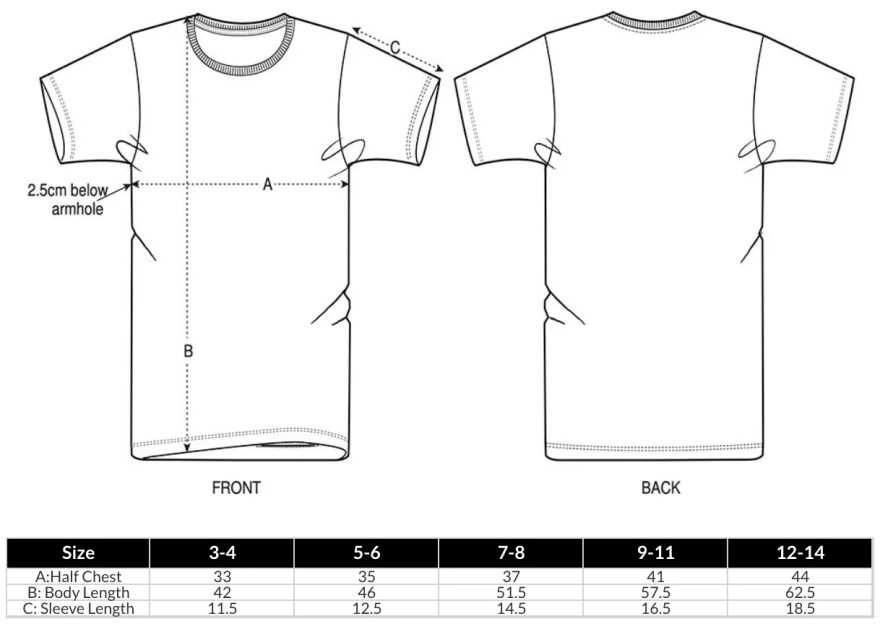 Kids T-Shirt Size Guide