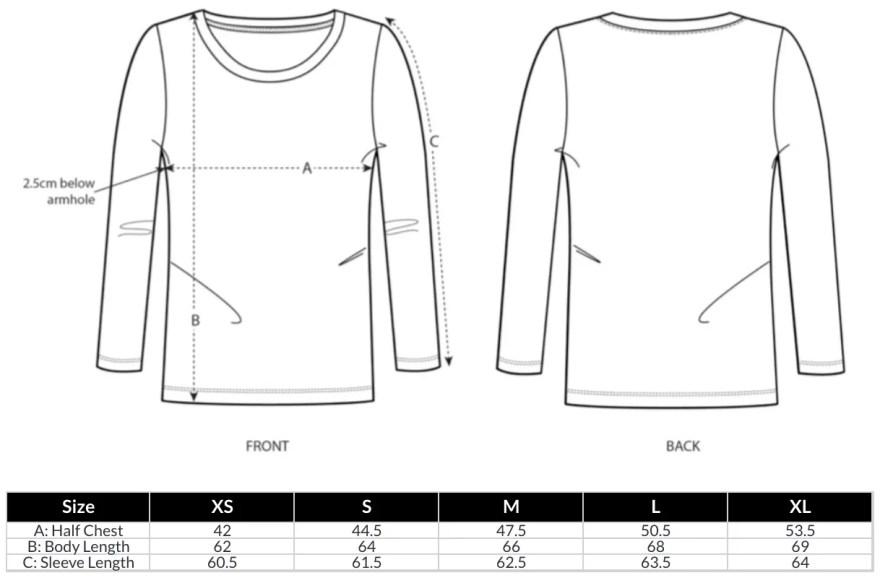 Women's Long Sleeve T-Shirt Size Guide