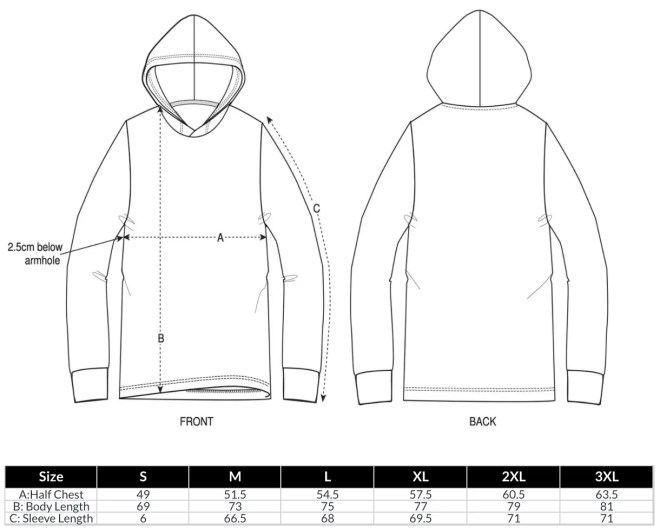 Unisex Long Sleeve Hooded T-Shirt Size Guide