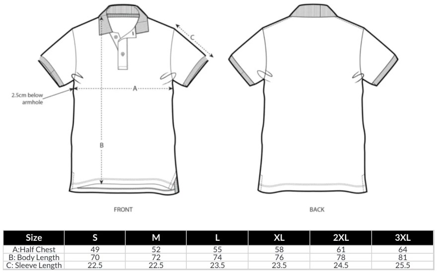 Unisex Polo Shirts Size Guide