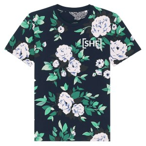 [SHF] Embroidered Motif Floral Print T-Shirt