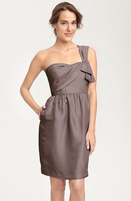 David s Bridal Strapless Crinkle Chiffon Dress with Mikado Sash Gray Is The New Black For Bridesmaid Dresses In 2013