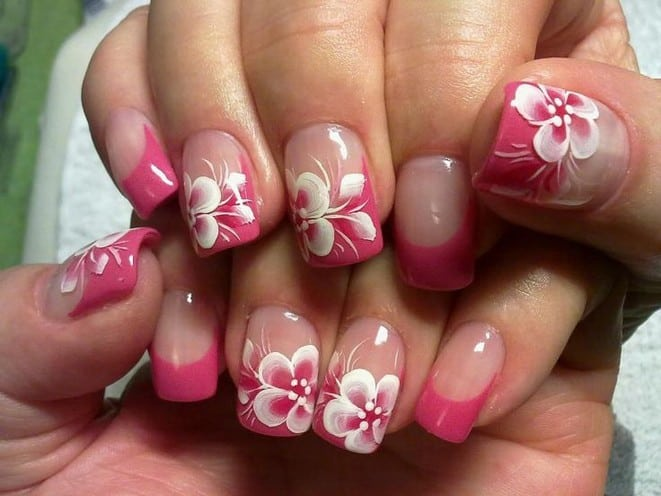 25 Astonishing Flower Nail Designs For Inspiration Sheideas Pink And White Art Ideas Prinsesfo