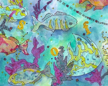 Fish, ocean, swim. watercolor, pen, acrylic on 140 lb. cold press paper. © 2013 Sheila Delgado