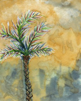 Palm. 4 x 5 watercolor on 140 lb. cold press paper. © 2014 Sheila Delgado