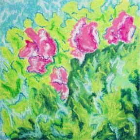 Flowers for Mama. Pastel, 5 x 5. © 2014 Sheila Delgado