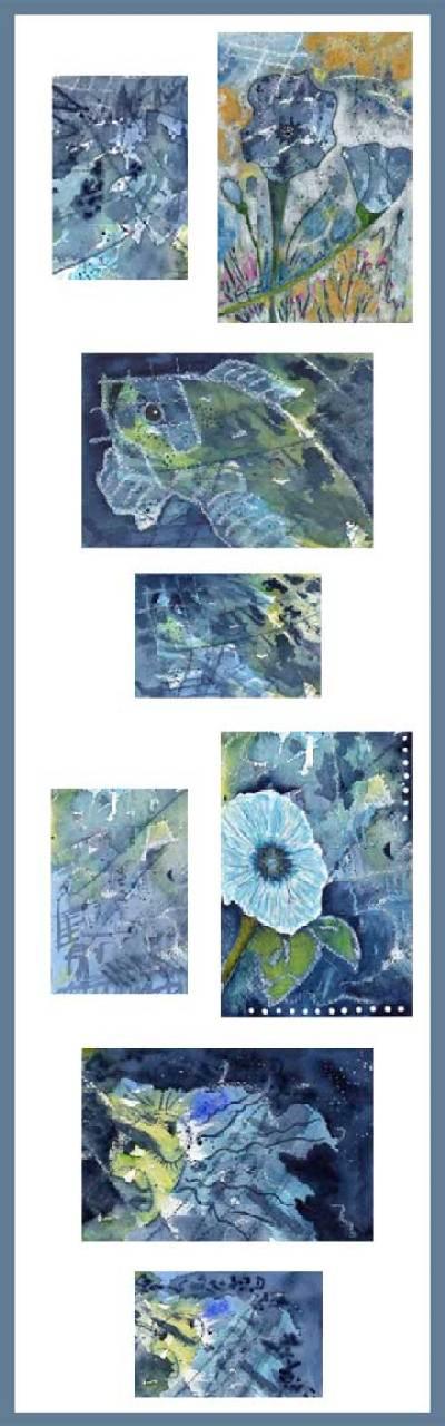 4 x 6 Postcards. Mixed media on Arches 140 cold pressed paper. © 2014 Sheila Delgado