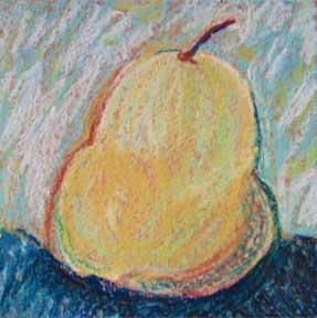 A beginning. Pear. 5 x 5 pastel,  © Sheila Delgado 2014
