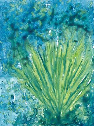 Coral. Watercolor and gouache on Yupo. 4.5 x 6 in. © 2014 Sheila Delgado