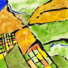 Harvest Map. Watercolor and acrylic, 6 x 6. © Sheila Delgado 2014