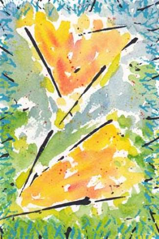 Bloomers. Watercolor and acrylic on 140 lb. Arches cold pressed paper. © 2014 Sheila Delgado