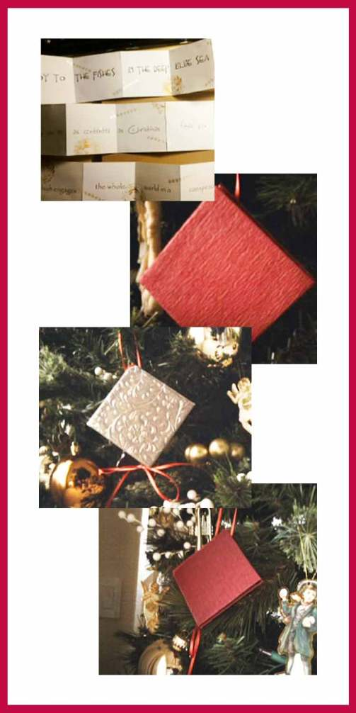 Christmas mini book ornament