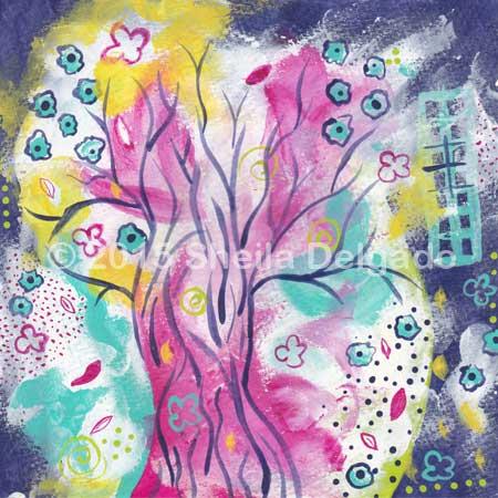 Arbor adore. 5 x 5 acrylic on paper. © 2015 Sheila Delgado. #jan30in30, day 18