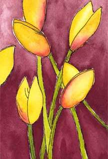 Yellow Tulips. 4 x 6 watercolor and pen on Arches 140 lb. cold pressed paper. © 2015 Sheila Delgado