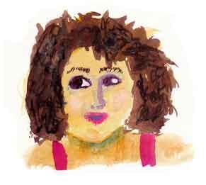 2 x 2 inch watercolor sketch. 2015 Sheila Delgado