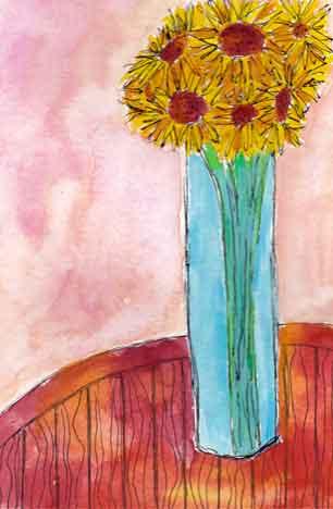 4 x 6 Ink and watercolor postcard. 2015 Sheila Delgado