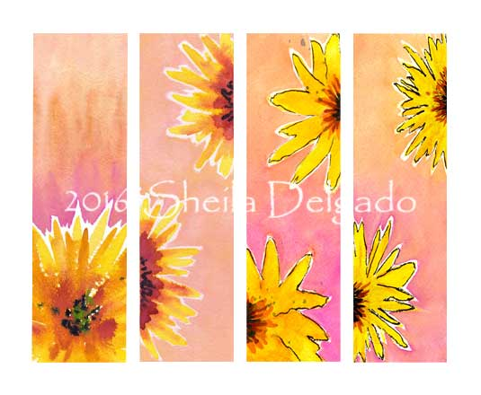 Jan 2016 Bookmarks. 2 x 7 in. watercolor on Arches 140 lb. cold pressed paper. © 2016 Sheila Delgado
