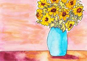 Sunny Still Life. Watercolor and pen. 2016 INKed Calendar. © 2015 Sheila Delgado