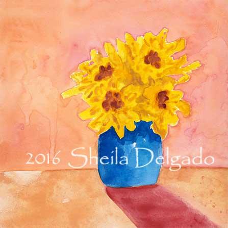 Day 18 Final redo. 8 x 8 in. watercolor on gesso board. © 2016 Sheila Delgado