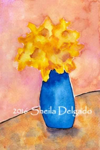 Day 19. 4 x 6 watercolor on 140 lb. Arches cold pressed paper. © 2016 Sheila Delgado