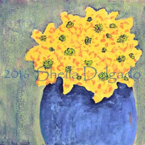 Day 26. 6 x 6 in. Acrylic on paper. © 2016 Sheila Delgado
