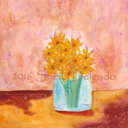 Jan 31 Bouquet. 6 x 6 in. watercolor on Arches 140 lb. cold pressed paper. © 2016 Sheila Delgado