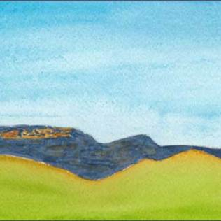 Hills 2. 4 x 12 watercolor on 140 lb. Arches cold pressed paper. © 2016 Sheila Delgado