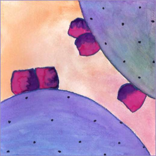Purple Cactus 2. 6 x 6 in. watercolor on Arches 140 lb. cold pressed paper. © 2016 Sheila Delgado