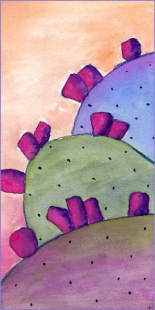 Purple Cactus. 5 x 10 watercolor on Arches 140 lb. cold pressed paper. © 2016 Sheila Delgado