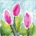 Tulips. 6 x 6 watercolor on Arches 140 lb. cold pressed paper. © 2016 Sheila Delgado
