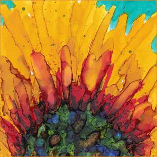 Sunflower. 4 x 4 Alcohol Ink on Mineral paper. © 2016 Sheila Delgado