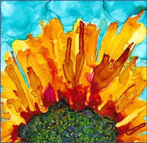 Sun-Flash 5 x 5 in. Alcohol Ink on Yupo. © 2016 Sheila Delgado