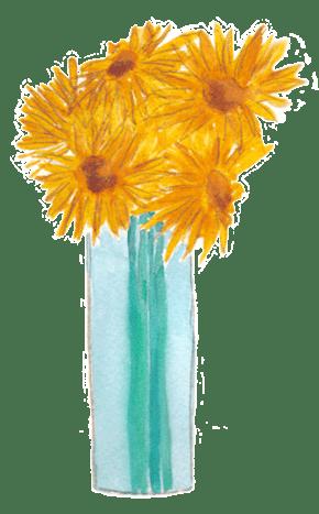 Sunflower Vase. Watercolor. © Sheiia Delgado