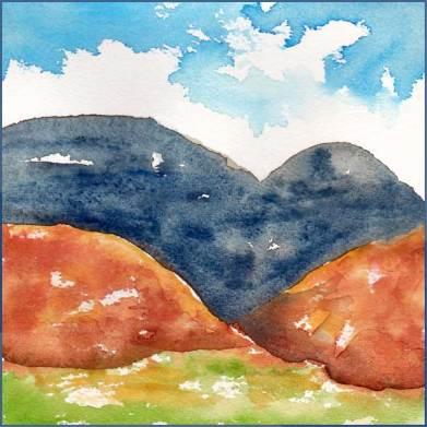 April Hills. 6 x 6 watercolor on Arches 140 lb. cold pressed paper postcard. © 2017 Sheila Delgado