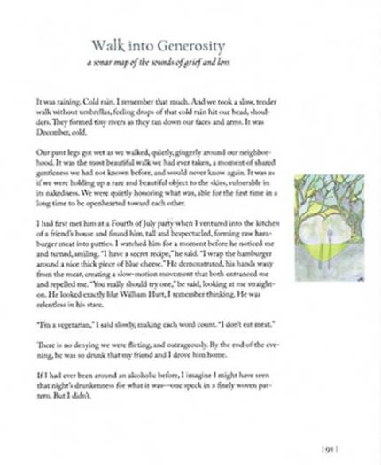 Page 91, Patty Digh - The Geography of Loss. Watercolor, © 2012 Sheila Delgado