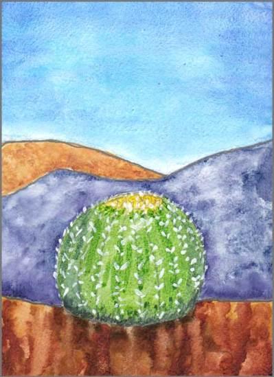 Barrel Cactus. 4 x 6 watercolor on gessoed paper. © 2017 Sheila Delgado