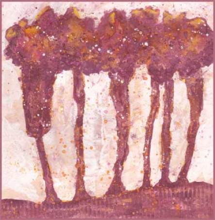 Trees. 6 x 6 mixed media on paper. © 2017 Sheila Delgado