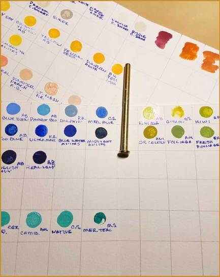 Acrylic color chart.