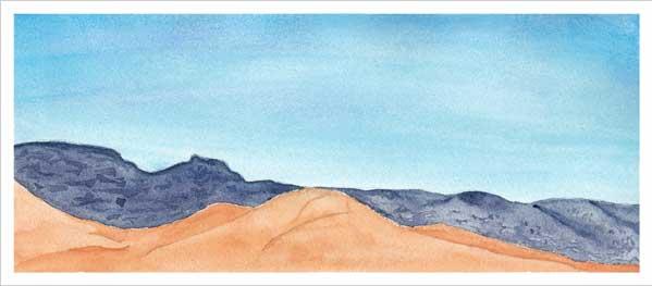 Mingus Day 1. 5.5 x 12 in. watercolor on Arches 140 lb. cold pressed paper. © 2018 Sheila Delgado.