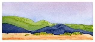 Mingus Day 10. 5.5 x 12 in. watercolor on Arches 140 lb. cold pressed paper. © 2018 Sheila Delgado.