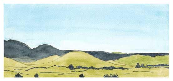 Mingus Day #4. 5.5 x 12in. watercolor on Arches 140 lb. cold pressed paper. © 2018 Sheila Delgado.