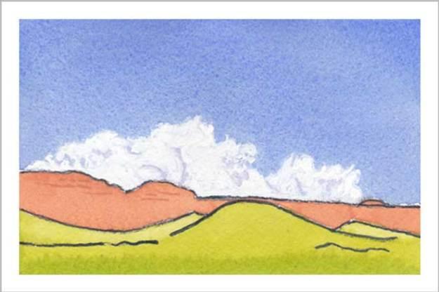 Mingus Day #9. 3.5 x 5 in. watercolor on Arches 140 lb. cold pressed paper. © 2018 Sheila Delgado.