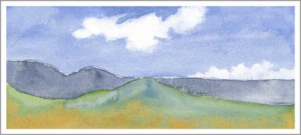 Mingus #13, of 100. 5.25 x 12 in. watercolor on Arches 140 lb. cold pressed paper. © 2018 Sheila Delgado.