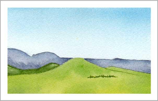 Mingus Day #23. 3.25 x 5.25 in. Watercolor on Arches 140 lb. cold pressed paper. © 2018 Sheila Delgado.